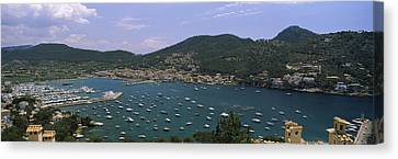 High Angle View Of Boats At A Port Canvas Print by Panoramic Images