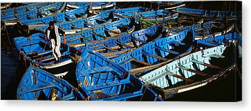 High Angle View Of Boats Docked Canvas Print by Panoramic Images