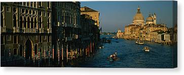 High Angle View Of Boats In A Canal Canvas Print by Panoramic Images
