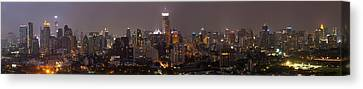 High Angle View Of City At Dusk Canvas Print by Panoramic Images