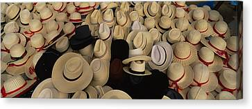High Angle View Of Hats In A Market Canvas Print by Panoramic Images