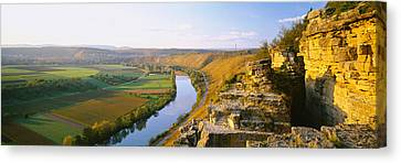 High Angle View Of Vineyards Canvas Print by Panoramic Images