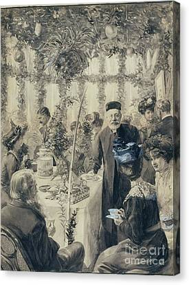 High Tea In The Sukkah Canvas Print by Solomon Joseph Solomon