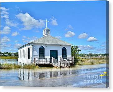 High Tide At Pawleys Island Church Canvas Print by Kathy Baccari