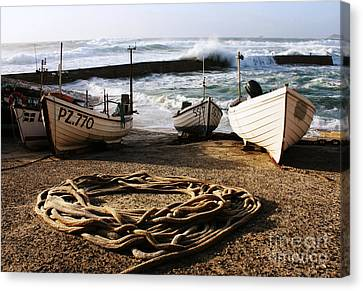 High Tide In Sennen Cove Cornwall Canvas Print by Terri Waters