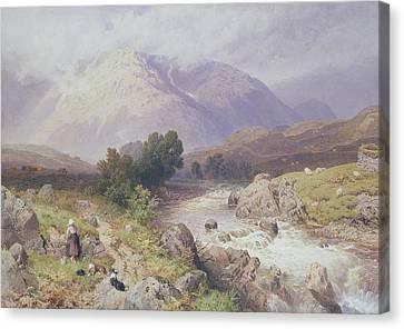 Highland Scene Near Dalmally Argyll Canvas Print by Myles Birket Foster