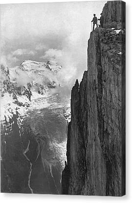 Hikers In The Alps Canvas Print by Underwood Archives