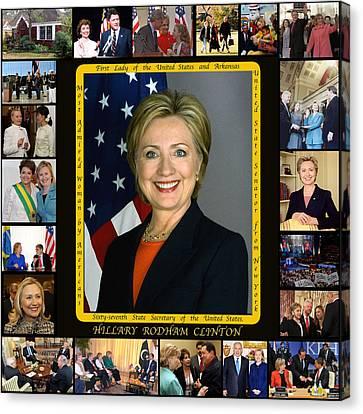 Hillary Rodham Clinton        Canvas Print by James William Allen