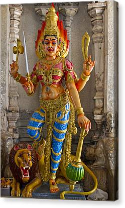 Hindu Goddess Durga On Lion Canvas Print by David Gn