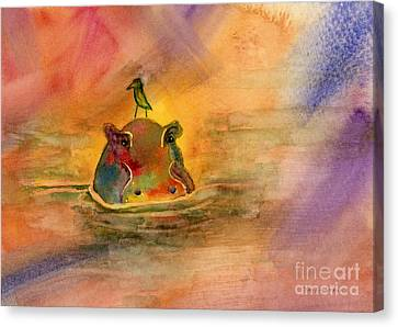 Hippo Birdie Canvas Print by Amy Kirkpatrick