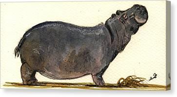 Hippo Happy Canvas Print by Juan  Bosco