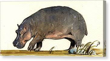 Hippo Walk Canvas Print by Juan  Bosco