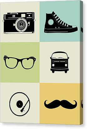 Hipster Mix Poster Canvas Print by Naxart Studio