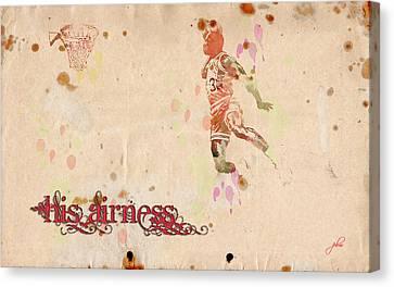 His Airness - Michael Jordan Canvas Print by Paulette B Wright