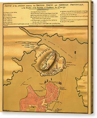 Historic Bunker Hill Battleground Map 1775 Canvas Print by Mountain Dreams