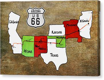 Historic Route 66 - The Mother Road Canvas Print by Christine Till