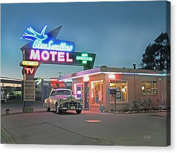 Historic Rt. 66 Blue Swallow Motel Canvas Print by Gordon Beck