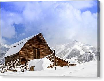 Historic Steamboat Springs Barn And Ski Area Canvas Print by Teri Virbickis
