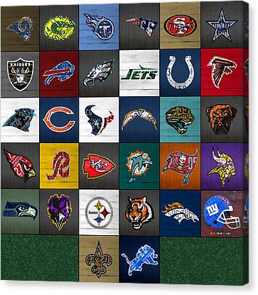 Hit The Gridiron Football League Retro Team Logos Recycled Vintage License Plate Art Canvas Print by Design Turnpike