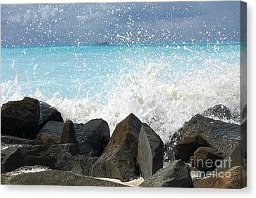 Hitting The Rocks Canvas Print by Sophie Vigneault
