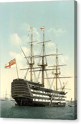 Hms Victory, Portsmouth, 1890s Canvas Print by Science Photo Library