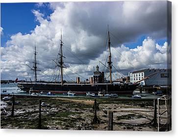Hms Warrior Portsmouth Historic Docks Canvas Print by Martin Newman