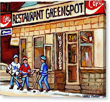 Hockey And Hotdogs At The Greenspot Diner Montreal Hockey Art Paintings Winter City Scenes Canvas Print by Carole Spandau