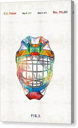 Hockey Art - Goalie Mask Patent - Sharon Cummings Canvas Print by Sharon Cummings