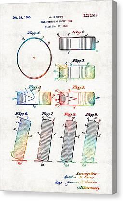 Hockey Art - Hockey Puck Patent - Sharon Cummings Canvas Print by Sharon Cummings
