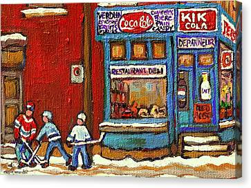 Hockey Game At The Corner Kik Cola Depanneur  Resto Deli  - Verdun Winter Montreal Street Scene  Canvas Print by Carole Spandau