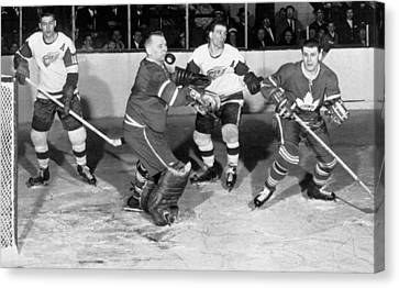 Hockey Goalie Chin Stops Puck Canvas Print by Underwood Archives