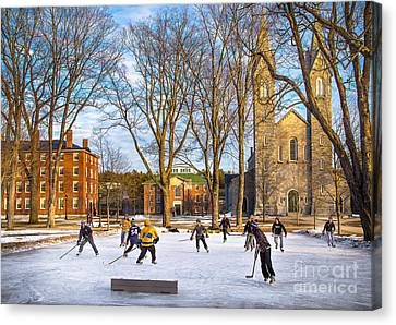 Hockey On The Quad Canvas Print by Benjamin Williamson