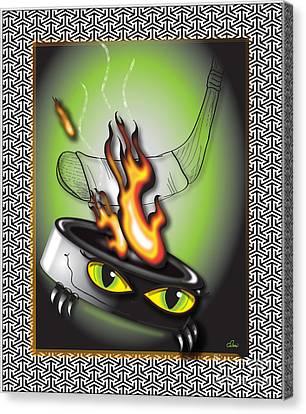 Hockey Puck In Flames Canvas Print by Dani Abbott