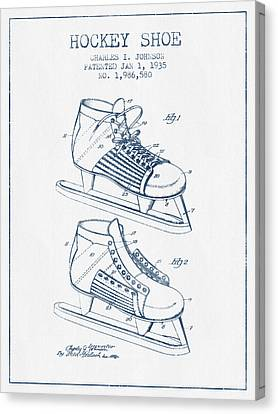Hockey Shoe Patent Drawing From 1935- Blue Ink Canvas Print by Aged Pixel