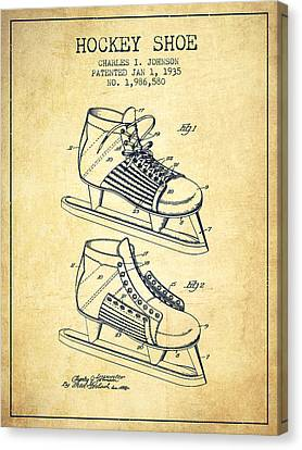 Hockey Shoe Patent Drawing From 1935 - Vintage Canvas Print by Aged Pixel