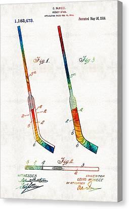 Hockey Stick Art Patent - Sharon Cummings Canvas Print by Sharon Cummings
