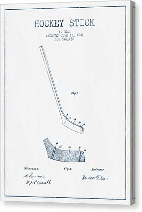Hockey Stick Patent Drawing From 1901 - Blue Ink Canvas Print by Aged Pixel