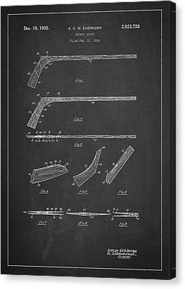 Hockey Stick Patent Drawing From 1934 Canvas Print by Aged Pixel