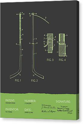 Hockey Stick Patent From 1915 - Gray Green Canvas Print by Aged Pixel