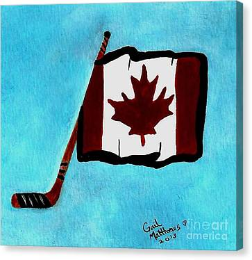 Hockey Stick With Canadian Flag Canvas Print by Gail Matthews