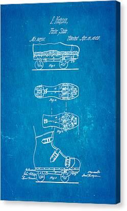 Hodgson Roller Skate Patent Art 1869 Blueprint Canvas Print by Ian Monk