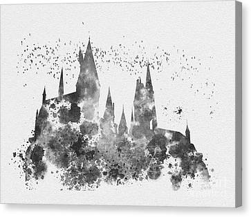 Hogwarts Black And White Canvas Print by Rebecca Jenkins
