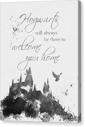 Hogwarts Quote Black And White Canvas Print by Rebecca Jenkins