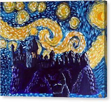 Hogwarts Starry Night Canvas Print by Jera Sky