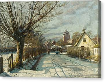 Hoje Taastrup Church Outside Copenhagen Canvas Print by Peder Monsted
