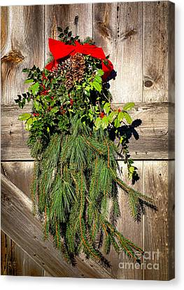 Holiday Barn Door Canvas Print by Olivier Le Queinec