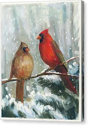Holiday Birds Canvas Print by Carol Rowan