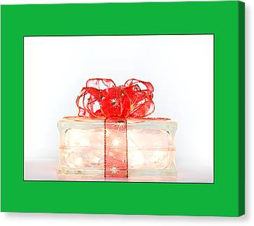 Holiday Glass Gift Box With Red Bow Canvas Print by Jo Ann Tomaselli