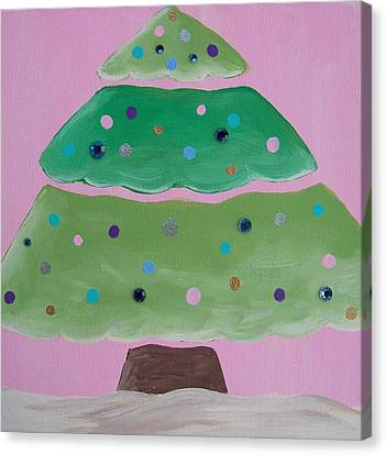 Holiday Tree With Pink Canvas Print by Tracie Davis