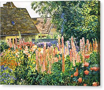 Hollyhocks Garden Canvas Print by David Lloyd Glover